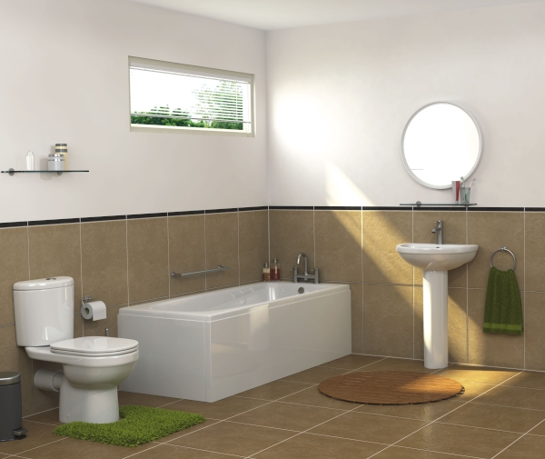 milan bathroom suite with straight bath